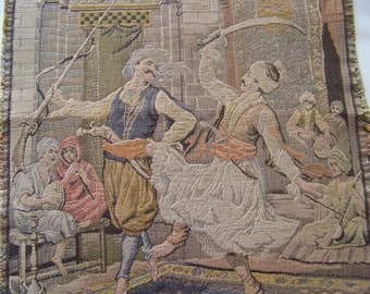 Antique French Tapestry Sultans Dance Of The Swords European Decor Tapestry Wall Hanging ca 1900