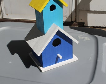 2 story handpainted wooden birdhouse