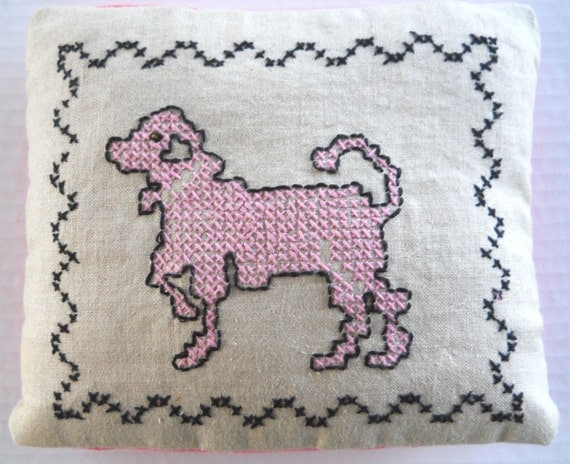 Pink Poodle Embroidered Pillow Sham & Pillow