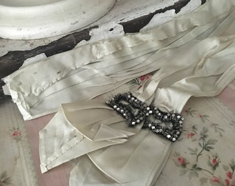 Antique Victorian Dress Remnant Scrap From FIT New York MUSEUM  Deaccession Pale Blue Silk Shreded Belt Sash With Rhinestone Buckle H4