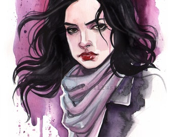 Jessica Jones Marvel Girls inspired watercolor Art Print Carla Wyzgala carlations
