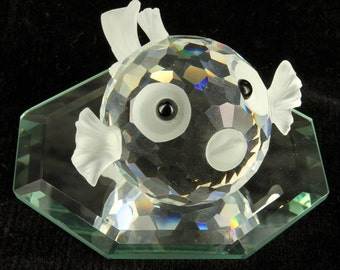 Vintage Swarovski Crystal Medium Blowfish Pufferfish South Sea Retired Figurine
