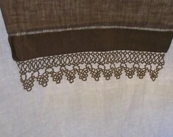 Vintage Runner or Dresser Scarf, Dark Oatmeal Linen, Wide Crochet Lace Edge on 1 End
