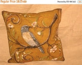 Christmas in July Shabby Chic Fun Throw Pillow with Bird Motif French Market Design Floral Handmade Pillow Mustard Yellow