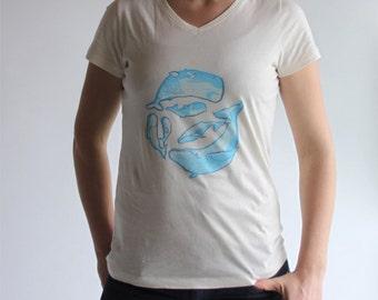 Whales T-shirt, organic cotton, blue, original linocut print, hand printed, seaside, sperm whale, beluga whale, humpback whale and babies