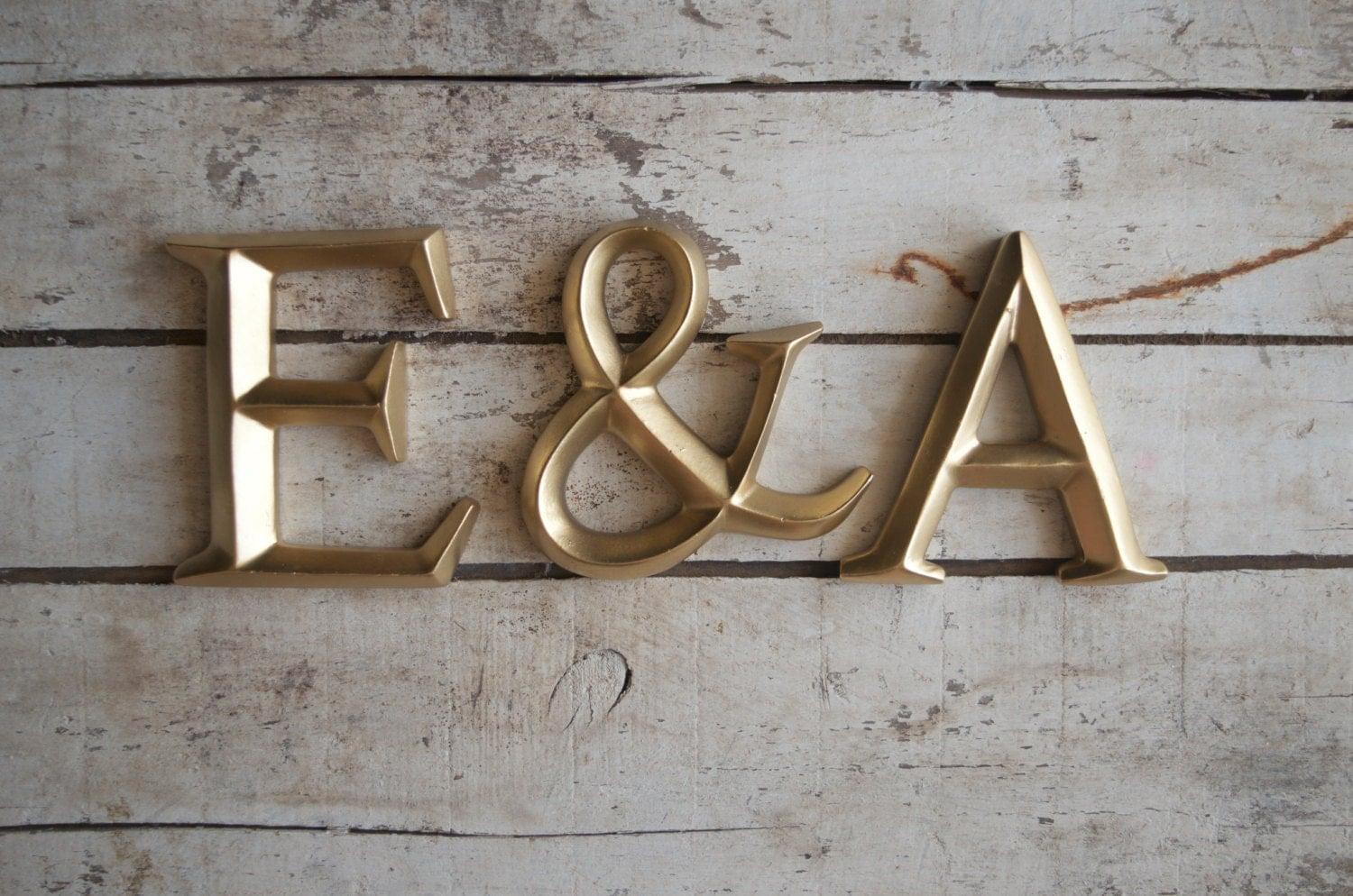 4 wall wedding gold initials monogram letters sign for Gold letters for wall