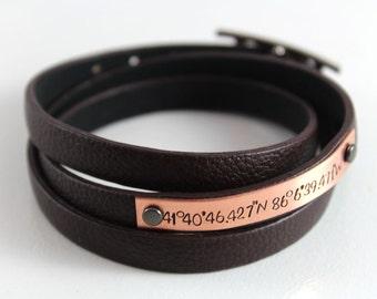 Custom Coordinates Leather Wrap Bracelet | Location GPS Coordinates, Latitude Longitude, Anniversary Gift, Valentines Gift