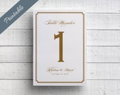 Gold Table Number Wedding Table Number Gold Wedding Printable