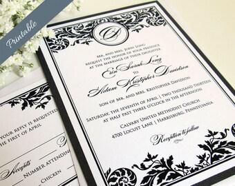 Black and White Wedding Invitations Formal Wedding Invitations Printables
