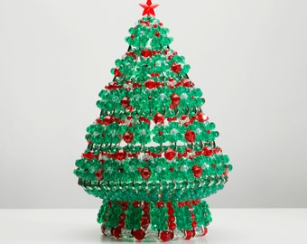 Rudolph Red - Handcrafted Beaded Christmas Tree with Lights