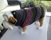Dog Sweater Hand Knit Holiday 17 inches long X Large