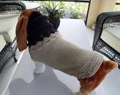 "Hand Knit Dog Sweater Size Large 22"" long"