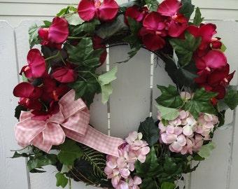 Hydrangea and Orchid Silk Wreath  Door Wreath    Hydrangea Wreath  Elegant Wreath   Orchid Wreath    Summer Wreath  Wedding Wreath