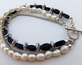 Triple Play pearls and chain bracelet