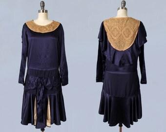 1920s Dress / 20s Satin Flapper Dress / Lace Yoke / Cape Back / Bow Front