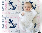 Nautical Baby Name blanket, personalized baby gift, anchor blanket, girl baby blanket, personalized blanket, girl name blanket with anchor