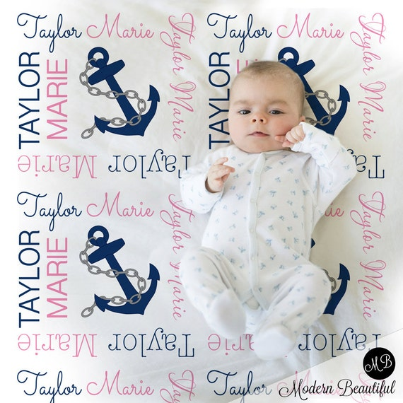 Nautical baby name blanket personalized baby gift anchor like this item negle Images