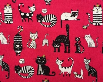 Japanese cotton fabric cat printed Half yard red colour