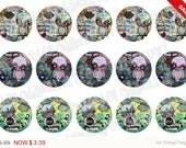 Sale -  Bottlecap Images Digital Collage Sheet One Inch Circles Whimsical Owls Set 2 4x6 Bottle Caps