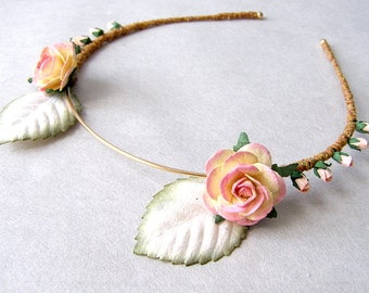 Blush Roses Laurel Flower Headband