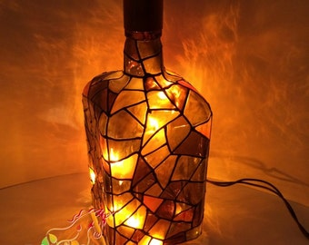 Gold and brown elegant mosaic painted Wine Bottle Light Lamp