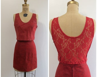 1980s Red Leather Lace Top and Skirt Outfit 80s
