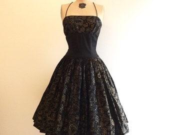 1950s Alfred Shaheen Dress 50s Hawaiian Sundress Black Gold