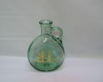 Craft Supplies, Bottle Supplies, Decanter Bottle, Round Jug  Green Glass Bottle, Altered Bottle Supplies, Wine Bottle,  Bottle for Crafts,
