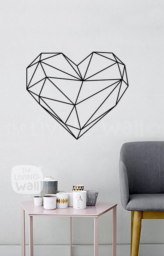 Geometric heart wall decals home decor removable vinyl wall stickers geometric heart wall art Home decor wall decor australia