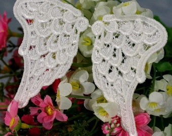 15pairs 5x8cm wide ivory angel wings fabric embroidered appliques patches 404 free ship
