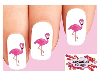 Waterslide Bird Nail Decals Set of 20 - Pink Flamingo