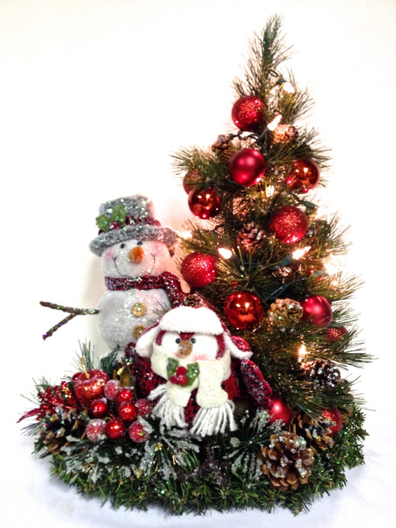 Snowman owl prelit tree tabletop winter arrangement christmas