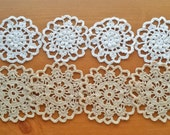 Vintage Crochet Doilies, Small Craft Doilies, Set of 8, White and Beige Crochet Doilies, 2 1/2 to 3 inch doilies