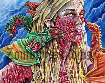 "11x16"" PRINT of Daenerys Targaryen. Game of Thrones, Zombie Portrait"