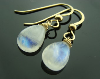 14K Petite Rainbow Moonstone Drop Solid Gold Earrings