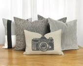 Vintage camera pillow case in charcoal grey, beige and aztec geometric pattern | Decorative pillow for couch | 12x18 lumbar cushion cover