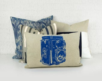 Vintage Camera Pillow Case or Urban Print | 16x16 or 12x18 inches Cobalt Blue and Beige Decorative Cushion Cover | Modern Industrial Decor