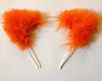 Orange Fuzzy Cat Ears