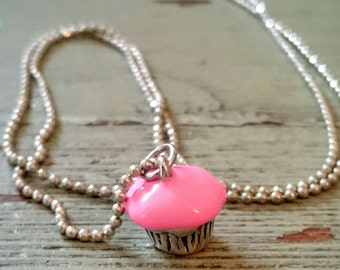 Cupcake Necklace. Birthday Necklace. Cupcake Charm.  Pink Cupcake Charm.