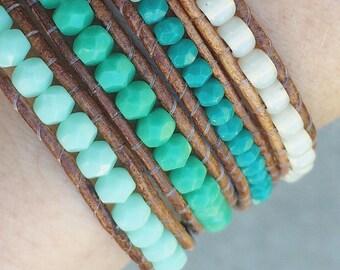 bohemian jewelry // tropical blues & aquas // boho chic // multi wrap leather bracelet // Czech glass // glass seed beads //mermaid charm