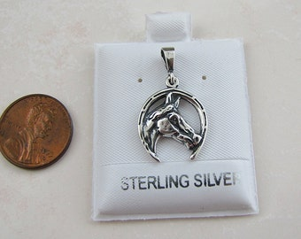 Equestrian Horse Head sterling silver pendant, Horse Shoe Pendant, Lucky charm