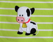 Cow Farm birthday number, cow applique, little cow birthday  - cute farm theme machine embroidery applique design  5x7