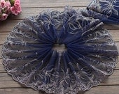 2 Yards Lace Trim Exquisite Flowers Embroidered Deep blue Tulle Lace 8.26 Inches Wide High Quality