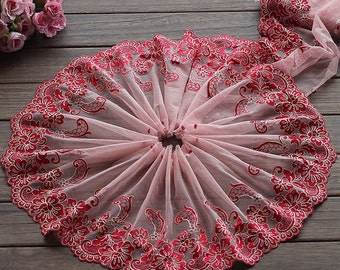 2 Yards Lace Trim Exquisite Red Rose Flowers Embroidered Pink Tulle Lace 6.88 Inches Wide High Quality