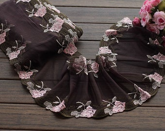 2 Yards Embroidered Lace Trim Pink Floral Embroidered Coffee Tulle Lace Trim 7 Inches Wide