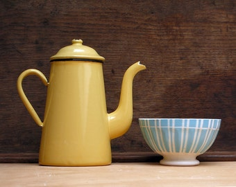French vintage yellow enamel Coffee Pot, shabby chic white, Vintage French Enamelware Coffeepot