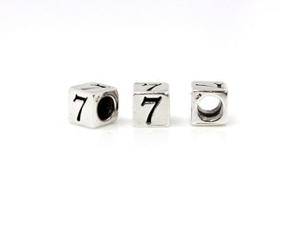 "Number Beads Sterling Silver 4mm Number Block ""7""  - 1pc 3mm Inside Diameter (4034)/1"