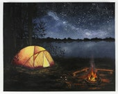 Camping Painting - Stargazing - Night Sky - Campfire - Print to fit 8x10 Frame