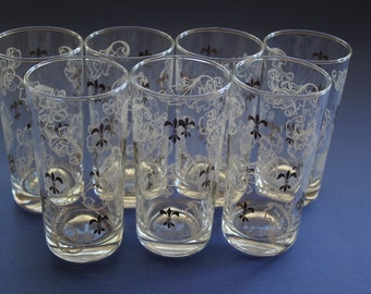Glassware, Barware, Cocktail, HiBall, Glasses, Fluer de Lis