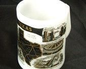 Vintage Milk Glass Mug TEXAS The Lone Star State Black & Gold Federal Coffee Cup
